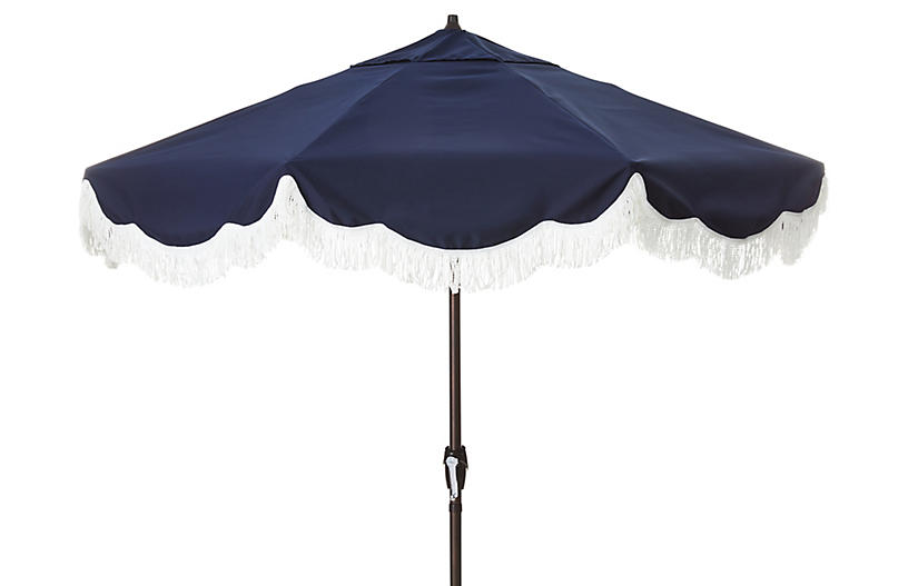 Cloud Fringe Patio Umbrella, Navy Sunbrella