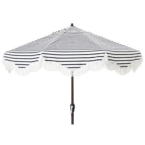 Cloud Fringe Patio Umbrella, Indigo