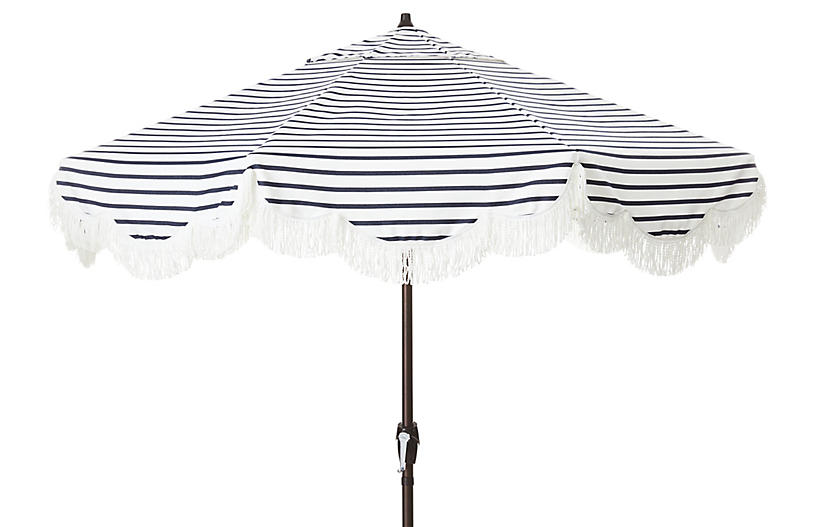 Cloud Fringe Patio Umbrella, Indigo Sunbrella