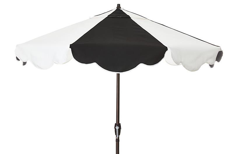 Cloud Patio Umbrella, Black/White