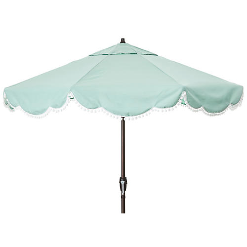 Cloud Pom-Pom Patio Umbrella, Mist