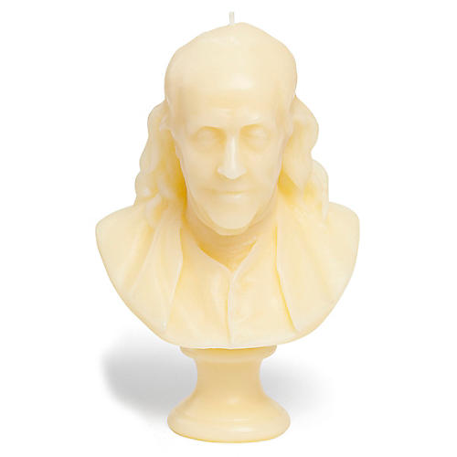 Benjamin Franklin Bust Candle, Unscented
