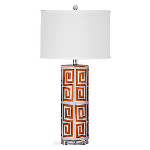 Belen Greek Key Table Lamp, Orange