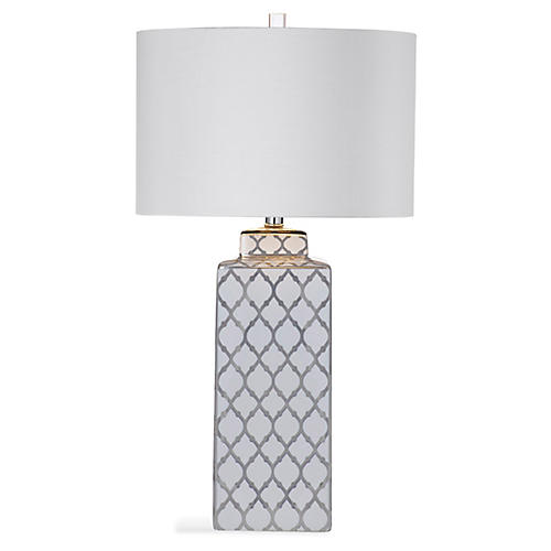 Carta Table Lamp, Silver/White