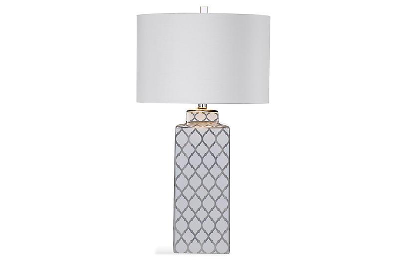 Carta Table Lamp, Silver/White