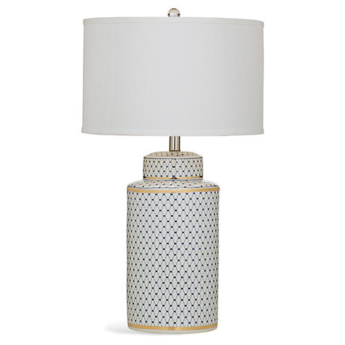 Laila Table Lamp, Blue/White/Gold