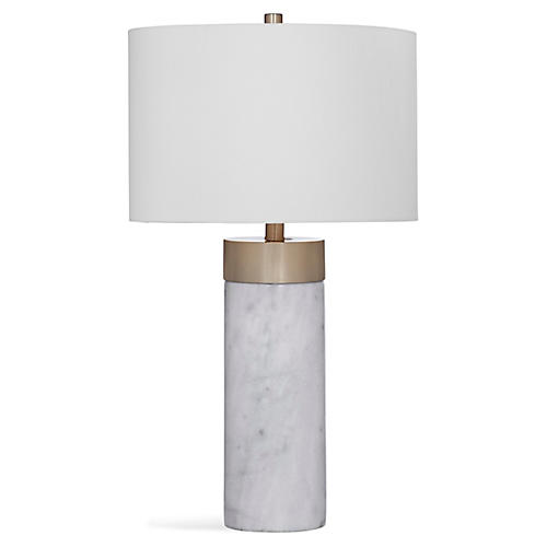 Allen Marble Table Lamp, White/Antiqued Brass