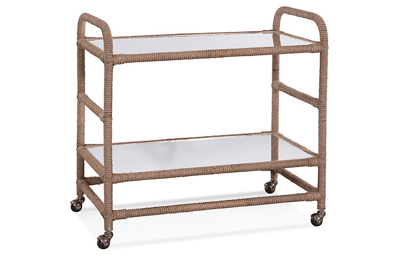 Sun breeze Bar Cart, Jute Rope