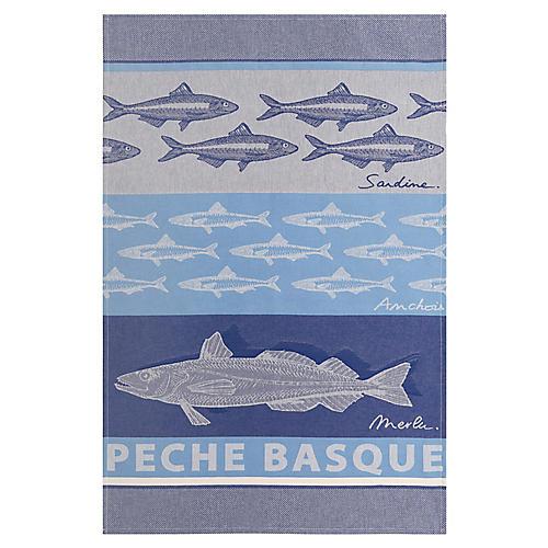 Basque Fish Tea Towel, Blue