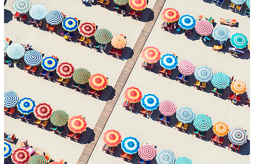 Gray Malin, Multicolor Umbrellas, Italy