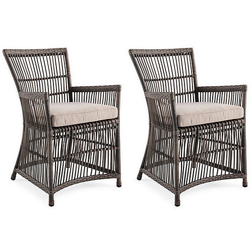 S/2 Bexhill Outdoor Armchairs, Gray