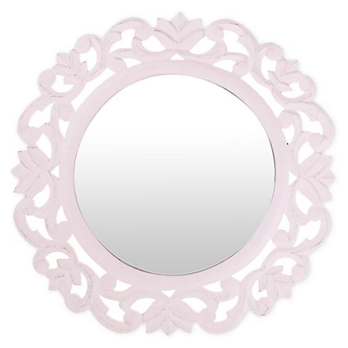 Carved Wall Mirror, Pink