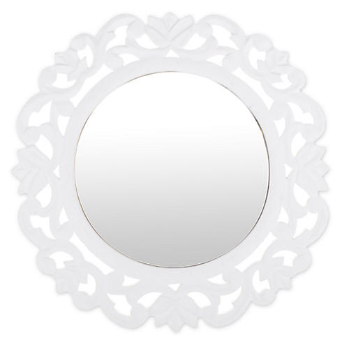 Carved Wall Mirror, White