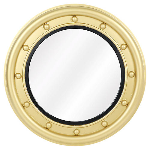 Calais Round Wall Mirror, Black/Gold
