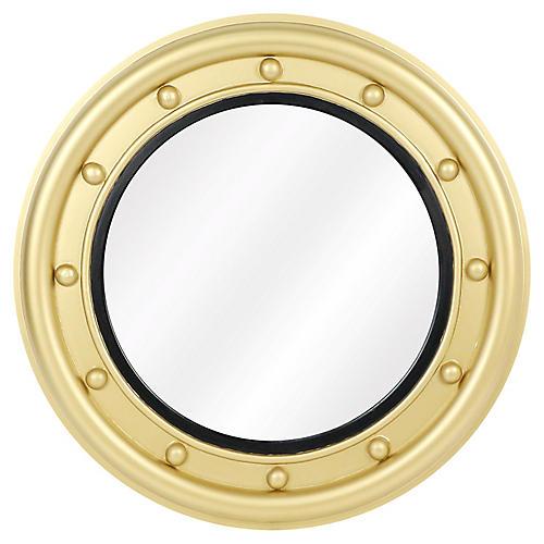 Calais Round Wall Mirror, Black/Gold