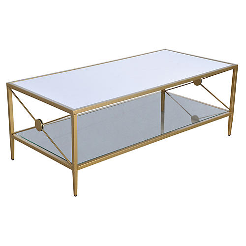 Beatrix Coffee Table, Brass