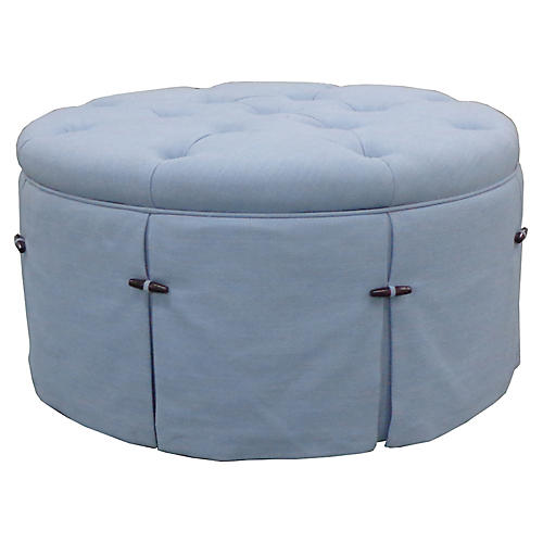 Felicity Round Ottoman, Soft Blue