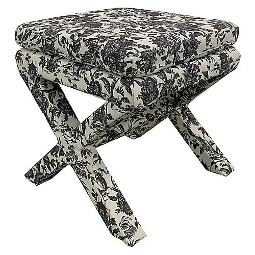 Valerie Pillow-Top Ottoman, Onyx Toile
