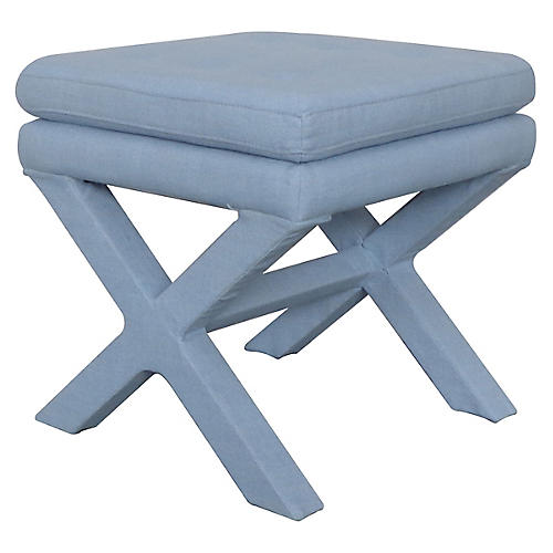 Valerie Pillow-Top Ottoman, Soft Blue