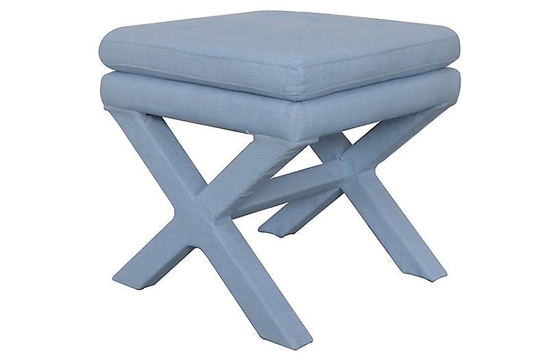 Valerie Pillow-Top Ottoman, Soft Blue