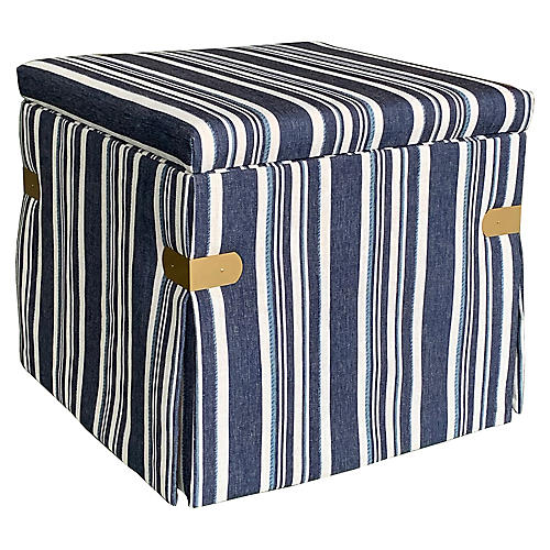 Squires Storage Ottoman, Blue Cording Stripe