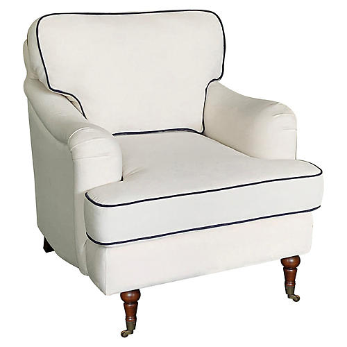 Felicity Club Chair, Ivory/Navy