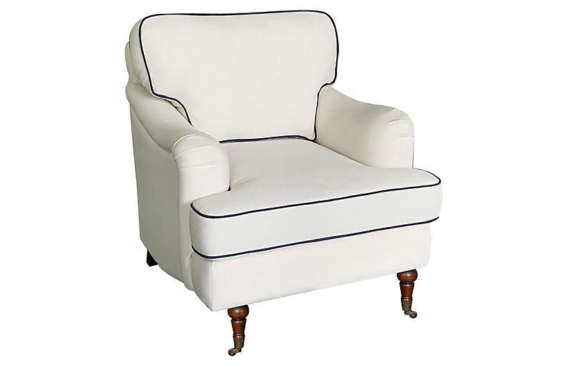 Felicity Club Chair, Ivory/Navy