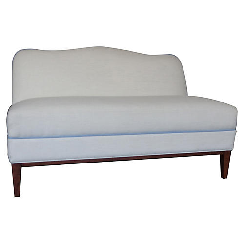 Eleanor Camelback Settee, Ivory/Soft Blue