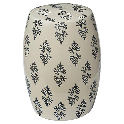 Claudine Floral Garden Stool, Gray Floral