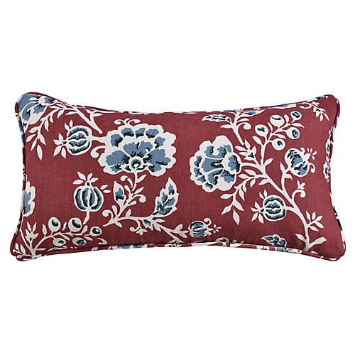 Catrine Vermillion Floral 12x23 Lumbar Pillow, Coral