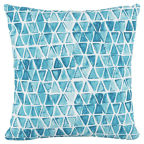 Addison 18x18 Pillow, Washed Triangles Blue