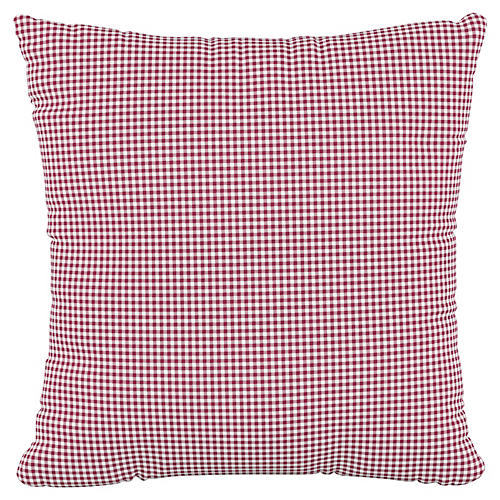 Addison 18x18 Pillow, Gingham Burgundy