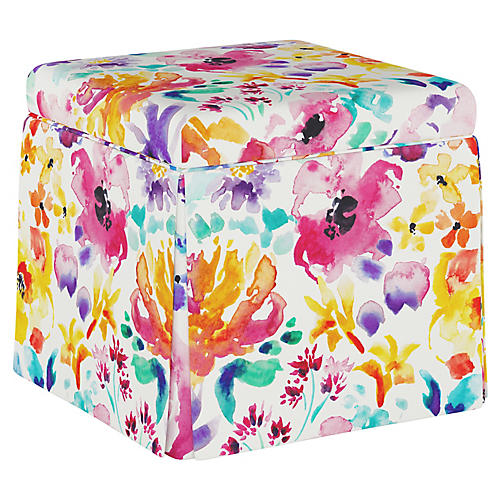 Avery Ottoman, Washed Floral Multi