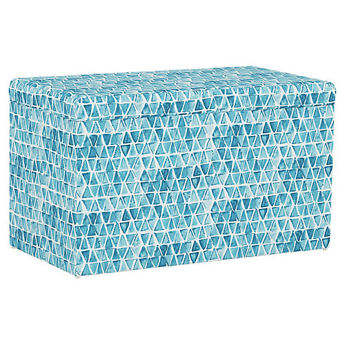 Sebastian Storage Bench, Washed Triangles Blue