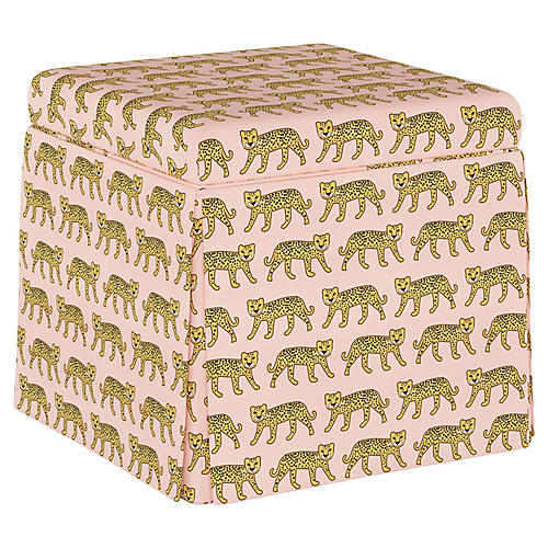 Avery Ottoman, Cheetah Pink