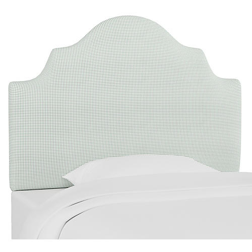 Harper Scalloped Headboard, Gingham Sage