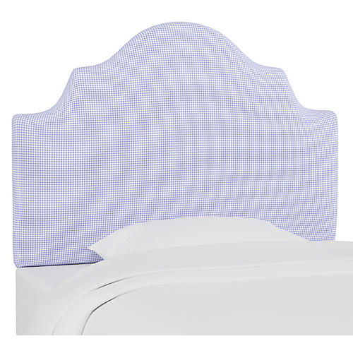 Harper Scalloped Headboard, Gingham Blue
