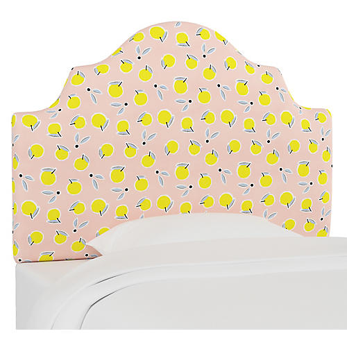 Harper Scalloped Headboard, Lemon Pink