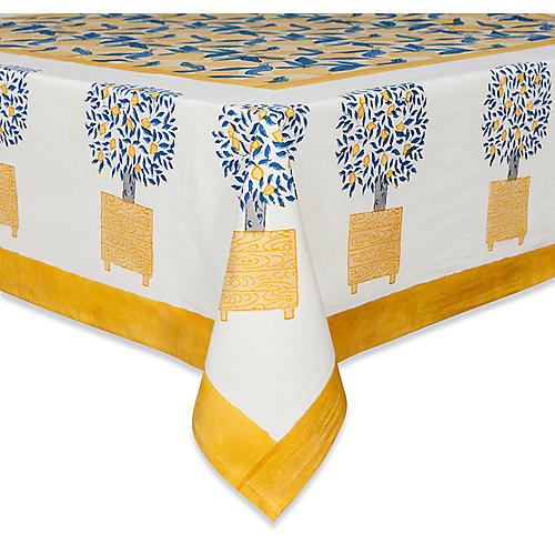 Lemon Tree Tablecloth, Yellow/Blue