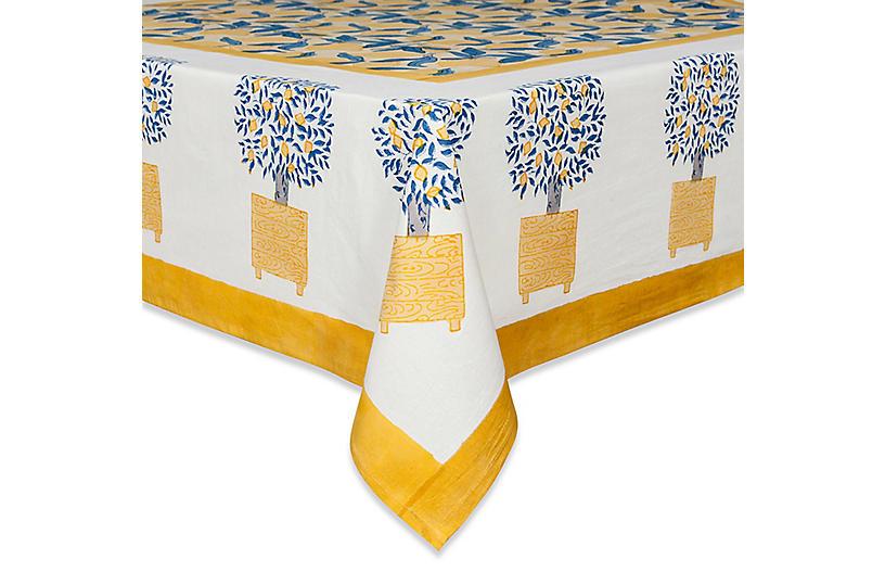 Lemon Tree Tablecloth - Yellow/Blue - Couleur Nature