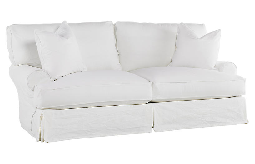 Comfy Slipcovered Sleeper Sofa, White Denim