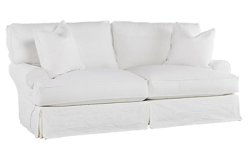 Comfy Slipcovered Sleeper Sofa, White Denim