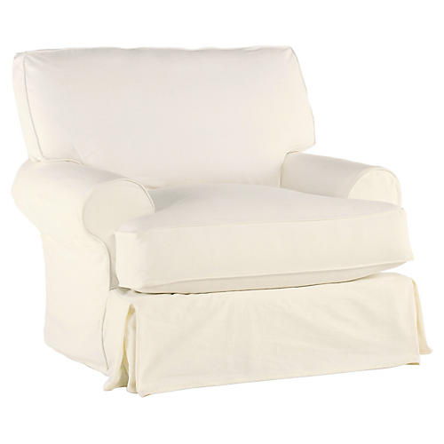 Comfy Swivel Club Chair, Cream Linen