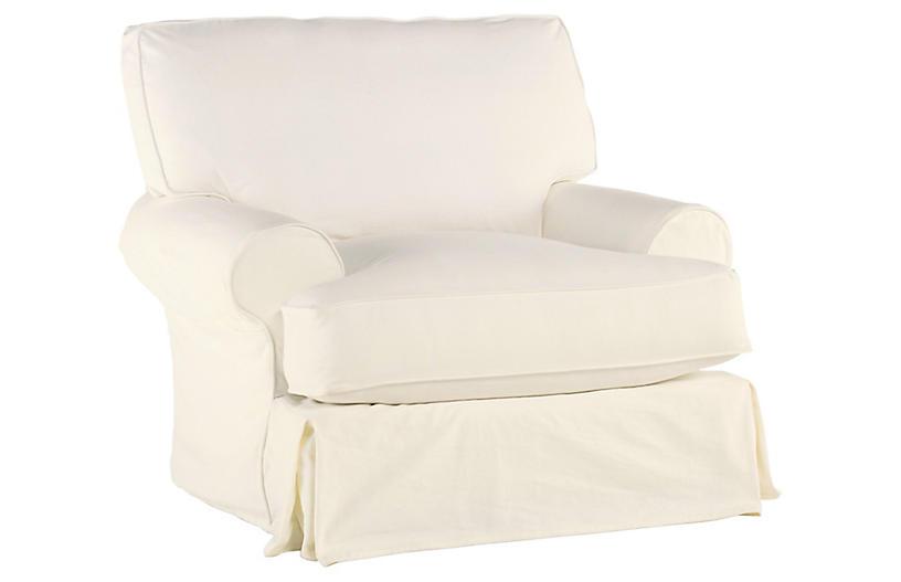 Comfy Swivel Club Chair, Cream Linen