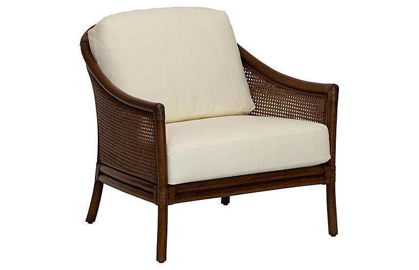 Imogen Rattan Lounge Chair, Ivory