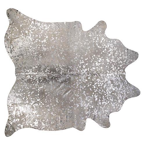 """6'x7'6"""" Devore Small Pattern Hide, Silver/Gray"""