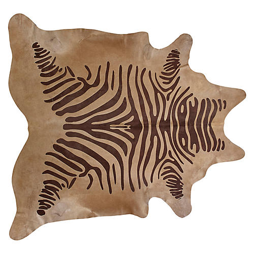 Large Devore Zebra Hide, Brown/Beige