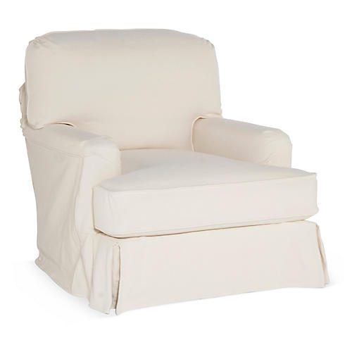 Dover Slipcovered Club Chair, Natural
