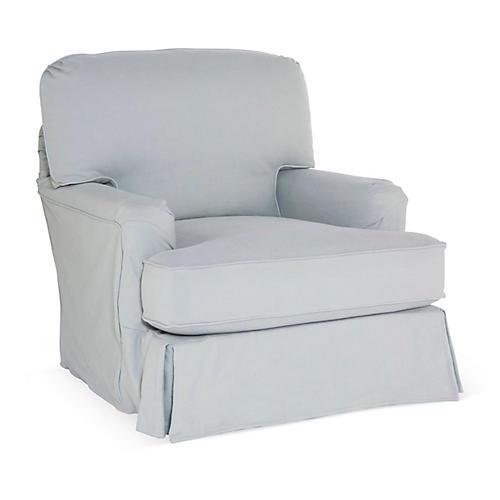 Dover Slipcovered Club Chair, Slate