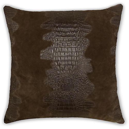 Croc Pillow, Brown Suede